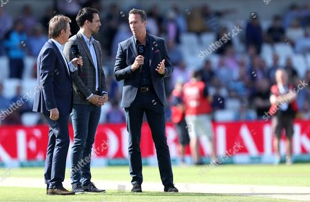 Stock Picture of Former England captain Michael Vaughan, right, talks with former Australian bowler Mitchell Johnson, centre and television commentator Mark Nicholas ahead of play on day two of the third Ashes Test cricket match between England and Australia at Headingley cricket ground in Leeds, England