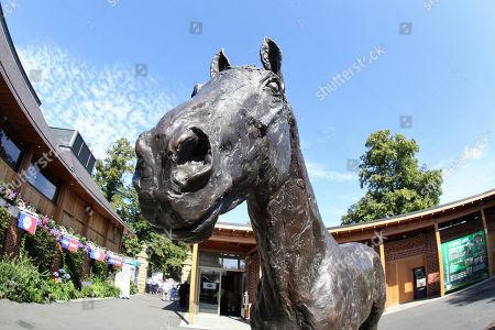 The Frankel statue near to the Sir Henry Cecil Gate Entrance on Day 4 of  the Ebor Festival at York Racecourse, York