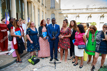 Congolese gynecologist, 2018 Nobel Prize Denis Mukwege (C) next to French Minister for Women Rights Marlene Schiappa (C-R) surrounded by members of the G7 Advisory Board for Gender Equality speak to the press at the Elysee Palace after a meeting with French President Macron in Paris, France, 23 August 2019.