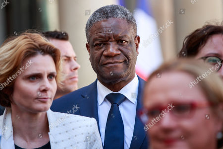 French director and women rights activist Caroline Fourest (L), Congolese gynecologist, 2018 Nobel Prize Denis Mukwege (C) and members of the G7 Advisory Board for Gender Equality speak to the press at the Elysee Palace after a meeting with French President Macron in Paris, France, 23 August 2019.