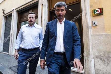 Stock Picture of The member of the centre-left Democratic Party (PD) Andrea Orlando (R) arrives at Montecitorio palace to meet with the 5 Stars movement (M5S) to start talks on possibly forming a coalition government, Rome, Italy, 23 August 2019. President Sergio Mattarella has given the parties until 28 August to try to put together a new government to last until the end of the legislative term in 2023.