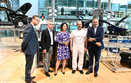 Editorial image of Panel discussion at Volkswagen Transparent Factory, Dresden, Germany - 23 Aug 2019
