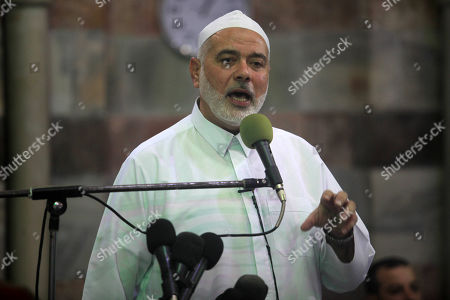 Head of the Political Bureau of Hamas Ismail Haniyeh gives a speech during Friday prayer in Gaza city. Hamas has called on Palestinains to mobilise in remembrance of the 50th anniversary of the al-Aqsa fire attack.
