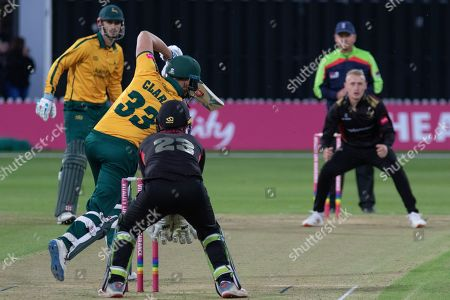 Joe Clarke batting against Callum Parkinson during the Vitality T20 Blast North Group match between Leicestershire Foxes and Notts Outlaws at the Fischer County Ground, Grace Road, Leicester