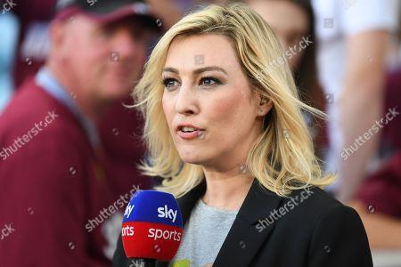 Sky sports presenter Kelly Cates during the Premier League match between Aston Villa and Everton at Villa Park, Birmingham