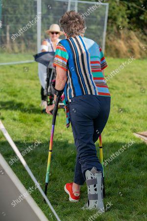 Prue Leith, with broken Achilles tendon