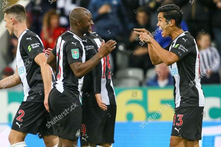 Yoshinori Muto of Newcastle United celebrates after scoring the equalising goal, 1-1 - Newcastle United v Leicester City, Carabao Cup Second Round, St James' Park, Newcastle upon Tyne, UK - 28th August 2019 Editorial Use Only - DataCo restrictions apply