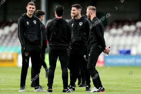 Galway United vs Cork City. Cork City's Gearoid Morrissey inspects the pitch with teammates ahead of the game