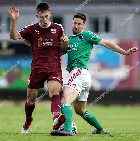 Galway United vs Cork City. Galway United's Maurice Nugent and Gearoid Morrissey of Cork City