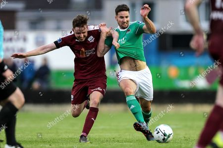 Galway United vs Cork City. Cork City's Gearoid Morrissey and Conor Melody of Galway United