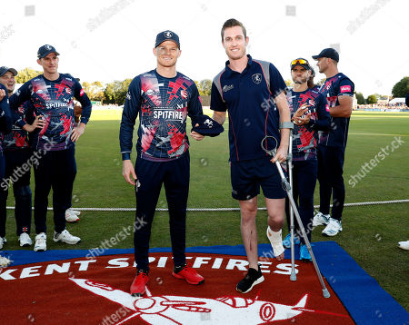 Adam Milne (R) receives his county cap from Sam Billings during Kent Spitfires vs Surrey, Vitality Blast T20 Cricket at the St Lawrence Ground on 23rd August 2019