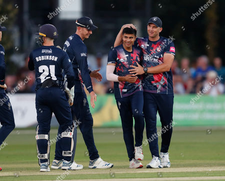 Imran Qayyum (2nd R) of Kent is congratulated after bowling Ben Foakes during Kent Spitfires vs Surrey, Vitality Blast T20 Cricket at the St Lawrence Ground on 23rd August 2019