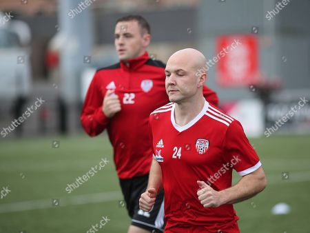 Derry City vs Dundalk. Derry's Grant Gillespie during the warm-up