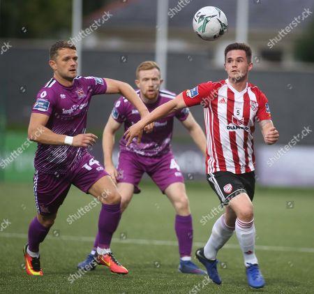 Derry City vs Dundalk. Derry's Michael McCrudden with Dundalk's Dane Massey and Sean Hoare