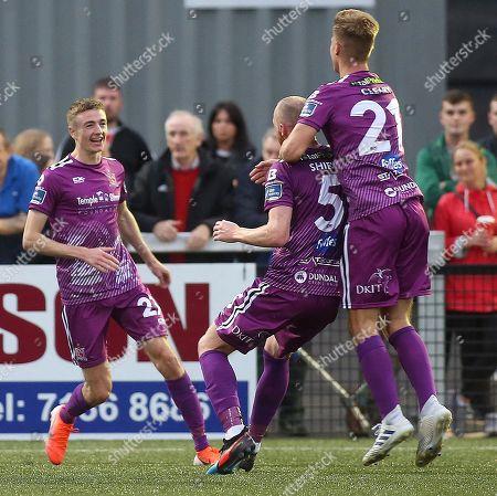 Derry City vs Dundalk. Dundalk's Daniel Kelly celebrates scoring with teammates