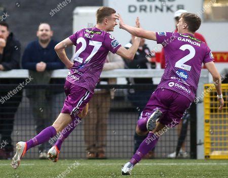 Derry City vs Dundalk. Dundalk's Daniel Kelly celebrates scoring with Sean Gannon