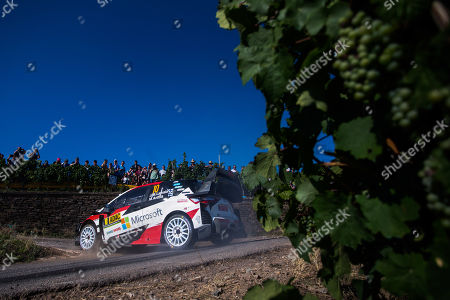 Jari-Matti Latvala of Finland drives his Toyota Yaris WRC, RC1 during day2 of the Rallye Germany 2019, in  Bostalsee, Germany, 23 August 2019.