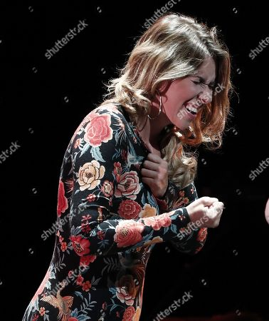 Spanish flamenco singer Rocio Marquez performs on stage during her concert on occasion of the VI Flamenco on Fire Festival in Pamplona, Navarra, northern Spain, 23 August 2019.