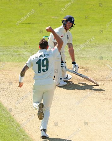 LEEDS, ENGLAND. 23 AUGUST Ben Stokes of England reacts as James Pattinson of Australia celebrates taking his wicket during day two of the 3rd Specsavers Ashes Test Match, at Headingley Cricket Ground, Leeds, England