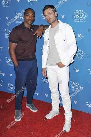 Anthony Mackie, Sebastian Stan. Anthony Mackie, left, and Sebastian Stan attend the Disney+ press line at the 2019 D23 Expo, in Los Angeles