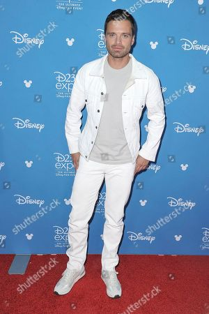 Sebastian Stan attends the Disney+ press line at the 2019 D23 Expo, in Los Angeles