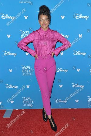 Sofia Wylie attends the Disney+ press line at the 2019 D23 Expo, in Anaheim, Calif