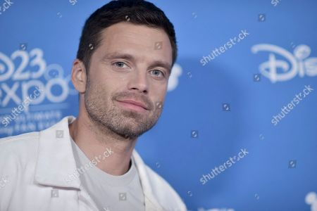 Sebastian Stan attends the Disney+ press line at the 2019 D23 Expo, in Anaheim, Calif