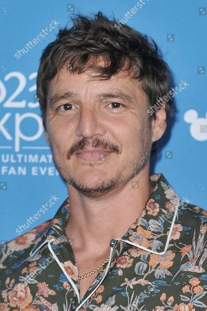 Pedro Pascal attends the Disney+ press line at the 2019 D23 Expo, in Los Angeles
