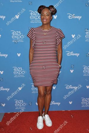 Aisha Tyler attends the Disney+ press line at the 2019 D23 Expo, in Anaheim, Calif