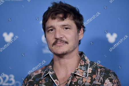 Pedro Pascal attends the Disney+ press line at the 2019 D23 Expo, in Anaheim, Calif