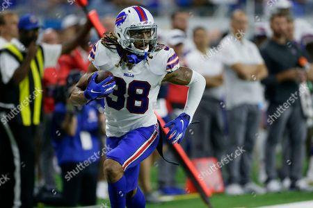 Buffalo Bills cornerback Ryan Lewis (38) returns an interception against the Detroit Lions in the second half of an NFL preseason football game in Detroit