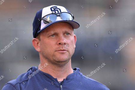 San Diego Padres' Andy Green looks on before the baseball game against the Boston Red Sox, in San Diego