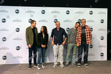 The cast of television show 'Agents of S.H.I.E.L.D.', Jed Whedon, Maurissa Tancharoen, Clark Gregg, James Ward and Jeff Bell await attendees during the D23 Expo at the Convention Center in Anaheim, California, USA, 23 August 2019. The expo, providing fans with unprecedented access to Disney films, television, games and theme park experiences, runs from 23 to 25 August.