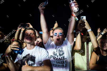 Stock Image of The audience enjoys the performance of Belgian DJ brothers Like Mike and Dimitri Vegas performing at Strand Festival in Zamardi at Lake Balaton, Hungary, 23 August 2019 (issued 24 August). The festival runs from 20 to 24 August.