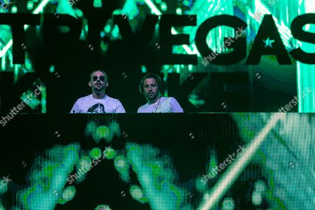 Stock Picture of Belgian DJ brothers Like Mike (Michael Thivaios) and Dimitri Vegas (Dimitri Thivaios) perform at Strand Festival in Zamardi at Lake Balaton, Hungary, 23 August 2019 (issued 24 August). The festival runs from 20 to 24 August.