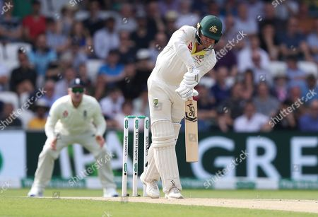 Australia's James Pattinson bats during play on day three of the third Ashes Test cricket match between England and Australia at Headingley cricket ground in Leeds, England