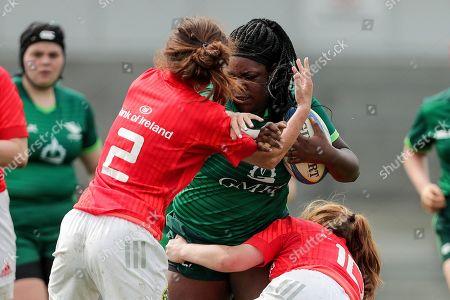 Connacht Women U18 vs Munster Women U18. Connacht's Faith Oviawe with Sarah Murphy and Emma Connolly of Munster