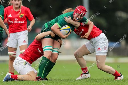 Connacht Women U18 vs Munster Women U18. Connacht's Eva McCormack is tackled by Alana McInerney and Emma Connolly of Munster
