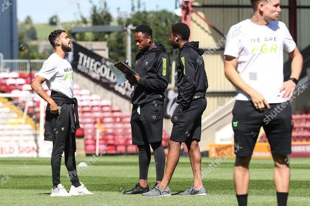 Stock Image of Forest Green Rovers Dominic Bernard(3), Forest Green Rovers Udoka Godwin-Malife(22) Forest Green Rovers Ebou Adams(14) during the EFL Sky Bet League 2 match between Bradford City and Forest Green Rovers at the Utilita Energy Stadium, Bradford