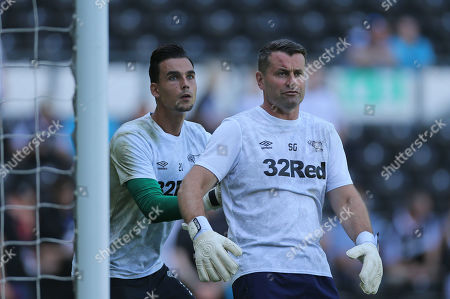 Kelle Roos of Derby County and Derby County Head Goalkeeping Coach Shay Given during pre game warm up. Derby County vs West Bromwich Albion, Sky Bet EFL Championship Football at Pride Park Stadium on 24th August 2019