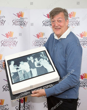 For editorial use only. 2019 Dave's Edinburgh Comedy Awards. Awards presenter Stephen Fry was presented with a birthday cake.