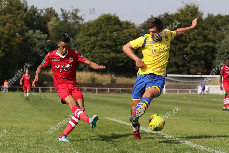 George Saunders of Hornchurch and Ben Harrison of Kingstonian during Hornchurch vs Kingstonian, BetVictor League Premier Division Football at Hornchurch Stadium on 24th August 2019