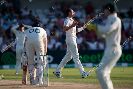 Australia's James Pattinson reacts after a missed opportunity against England's Joe Root on the third day of the 3rd Ashes Test cricket match between England and Australia at Headingley cricket ground in Leeds, England