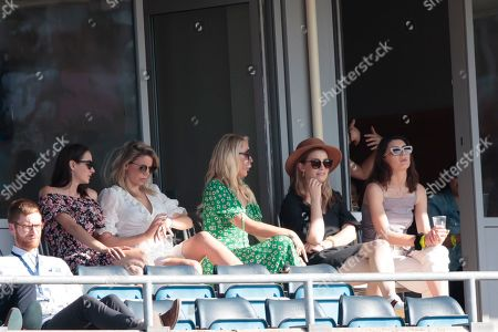 Rachel Khawaja, left, wife of Australia's Usman Khawaja sits in the stands on the third day of the 3rd Ashes Test cricket match between England and Australia at Headingley cricket ground in Leeds, England