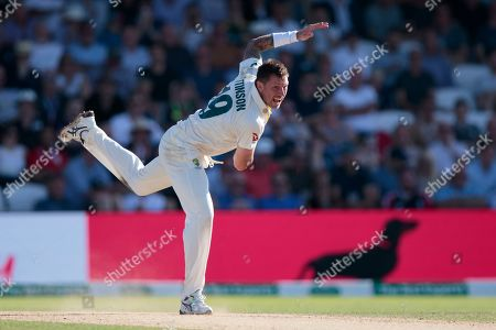 Australia's James Pattinson bowls on the third day of the 3rd Ashes Test cricket match between England and Australia at Headingley cricket ground in Leeds, England