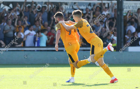 Stock Picture of Padraig Amond of Newport County, left, wheels away to celebrate with Lewis Collins of Newport County after scoring the winning goal