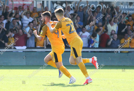 Stock Photo of Padraig Amond of Newport County, left, wheels away to celebrate with Lewis Collins of Newport County after scoring the winning goal
