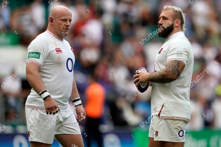 England's Dan Cole (L) and Joe Marler (R) react after the Quilter International rugby match between England and Ireland at Twickenham Stadium in London, Britain, 24 August 2019.