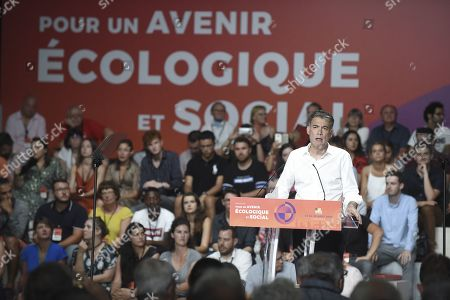 First secretary of the French Socialist Party Olivier Faure delivers a speech