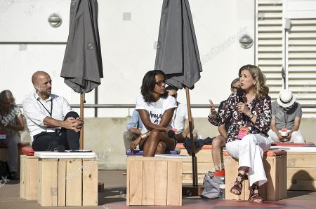 National secretary of the socialist party to the environment Jean Francois Debat, french journalist Audrey Pulvar and President of the E5T foundation Myriam Maestroni talk about climate change